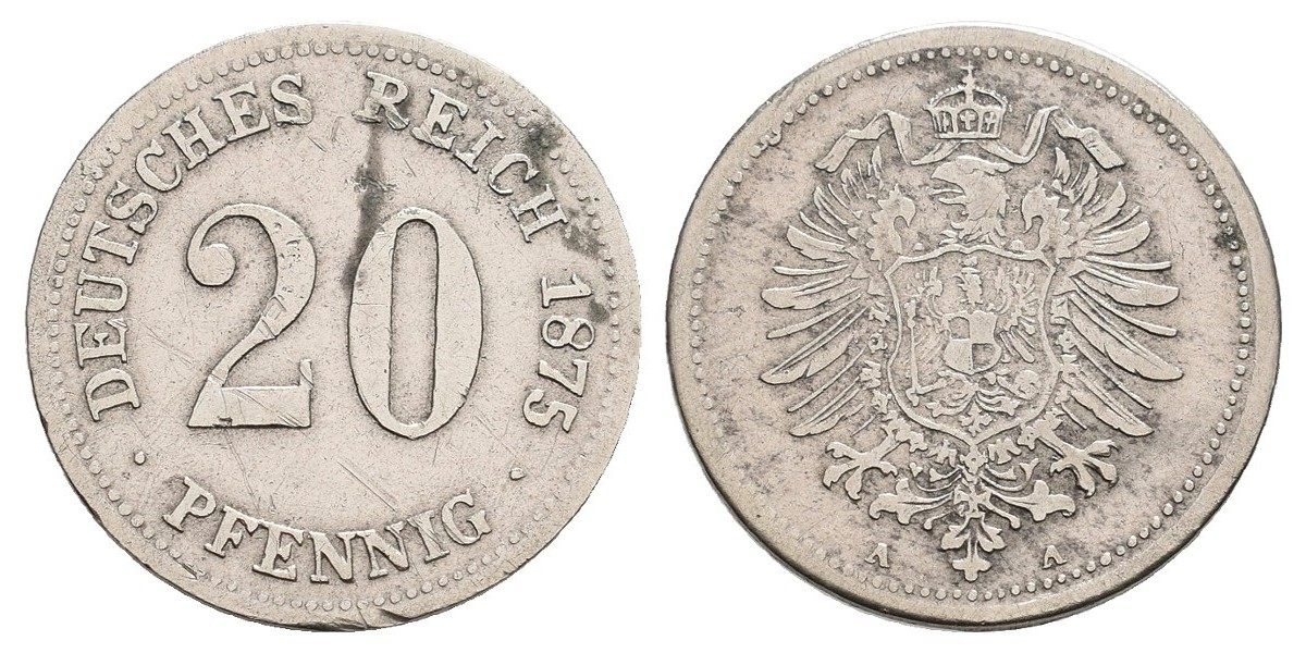 Alemania. 20 pfennig. 1875 A