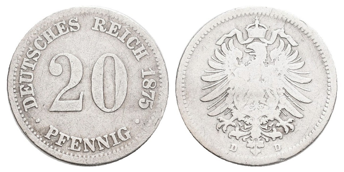 Alemania. 20 pfennig. 1875 D