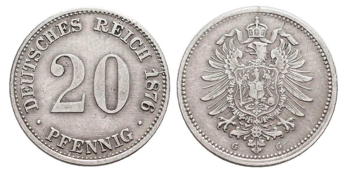 Alemania. 20 pfennig. 1876 G