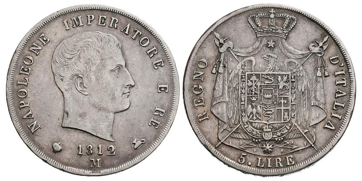 Italia. 5 lire. 1812 M