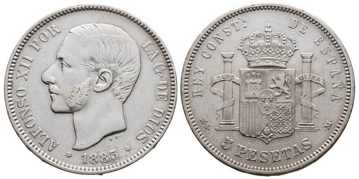 Alfonso XII. 5 pesetas. 1883*18-83. Madrid
