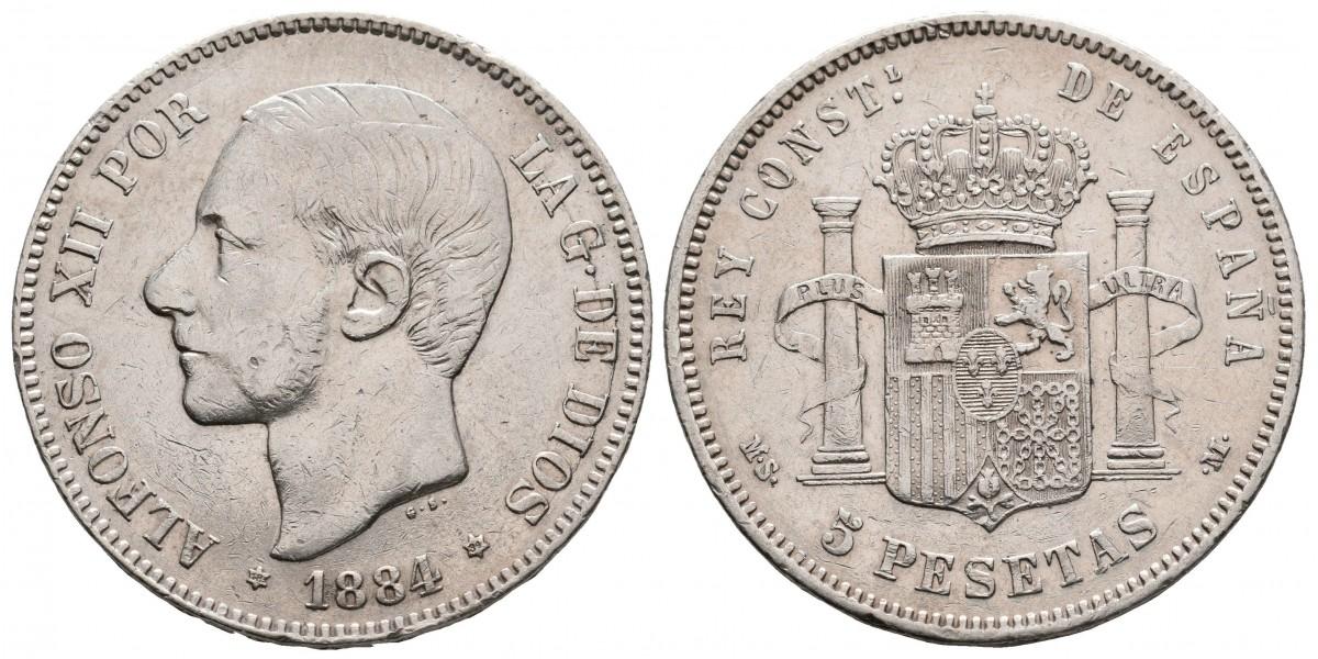 Alfonso XII. 5 pesetas. 1884*18-84. Madrid