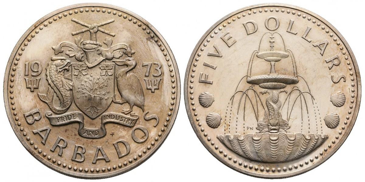 Barbados. 5 dollars. 1973