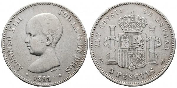 Alfonso XIII. 5 pesetas. 1891. Madrid