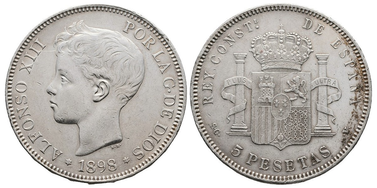 Alfonso XIII. 5 pesetas. 1898*18-98. Madrid