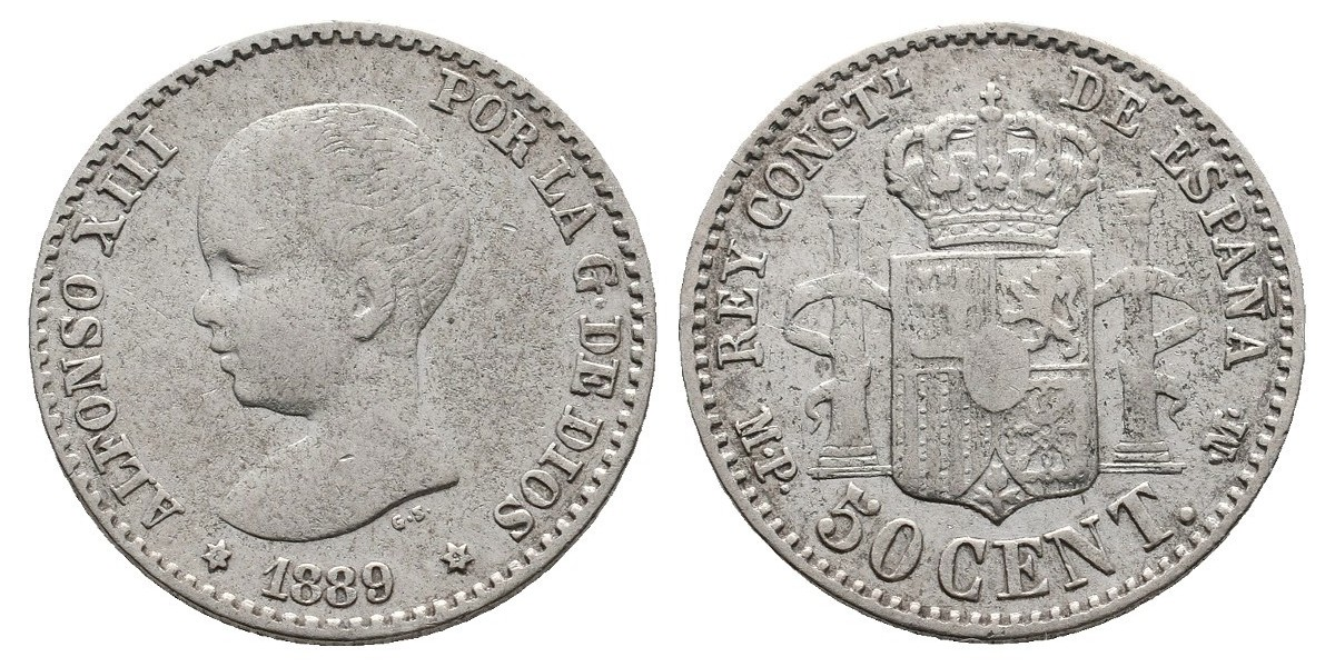 Alfonso XIII. 50 céntimos. 1889*8-9. Madrid