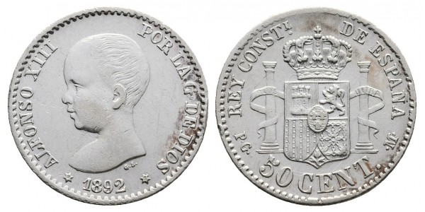Alfonso XIII. 50 céntimos. 1892*9-2. Madrid