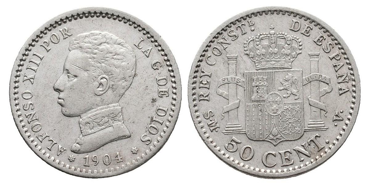 Alfonso XIII. 50 céntimos. 1904*0-4. Madrid