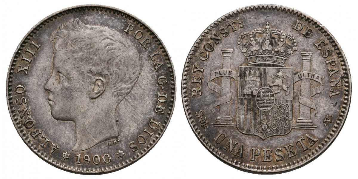 Alfonso XIII. 1 peseta. 1900*19-00. Madrid