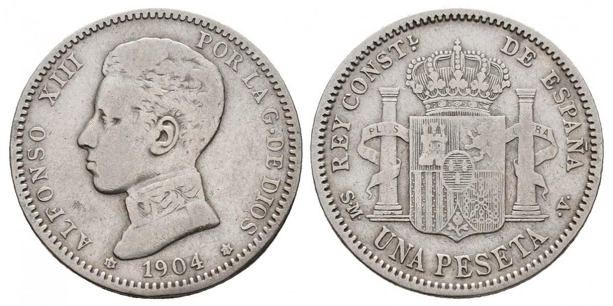 Alfonso XIII. 1 peseta. 1904*19-04. Madrid
