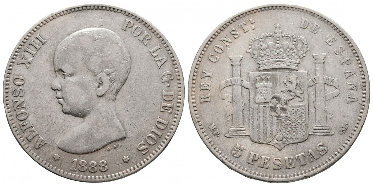 Alfonso XIII. 5 pesetas. 1888. Madrid