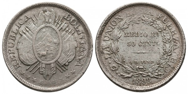 Bolivia. 1/2 boliviano. 1898 C.B.
