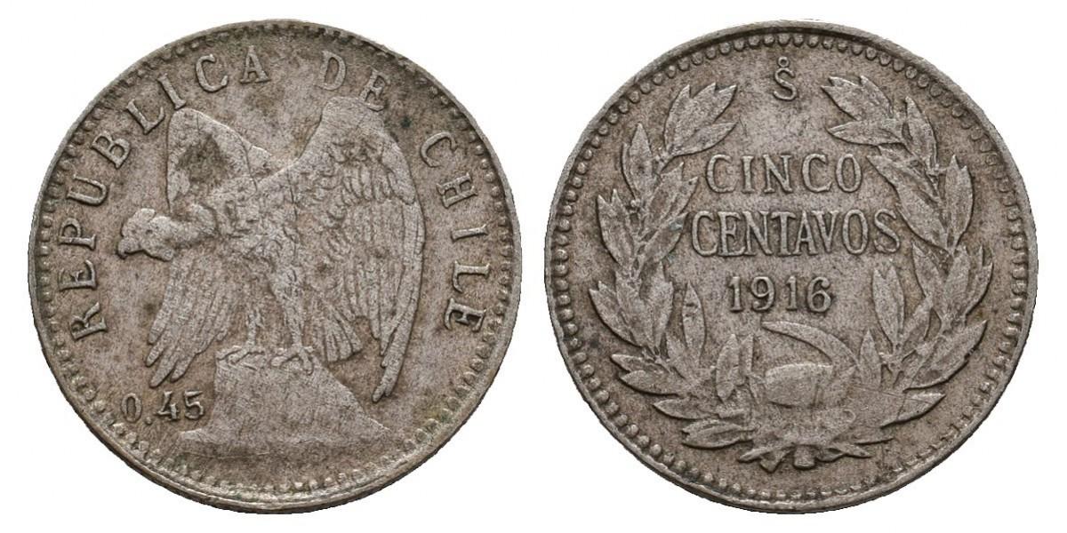 Chile. 5 centavos. 1916