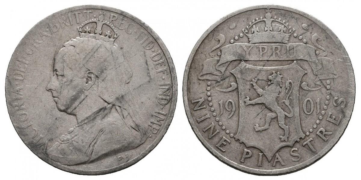 Chipre. 9 piastres. 1901