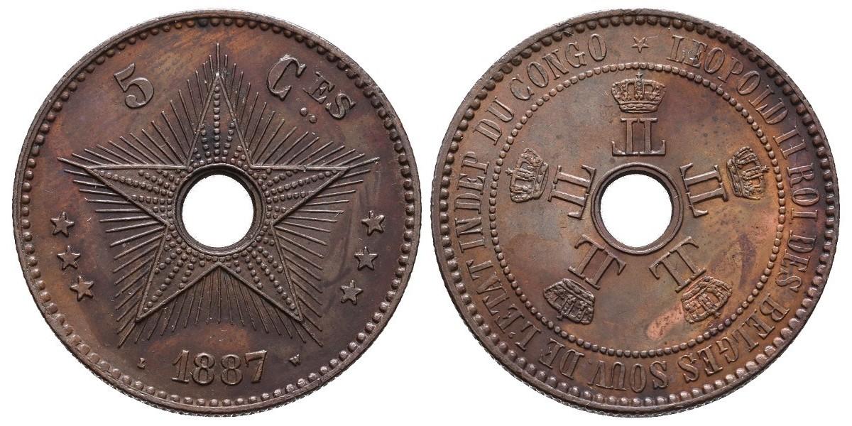 Congo Belga. 5 centimes. 1887