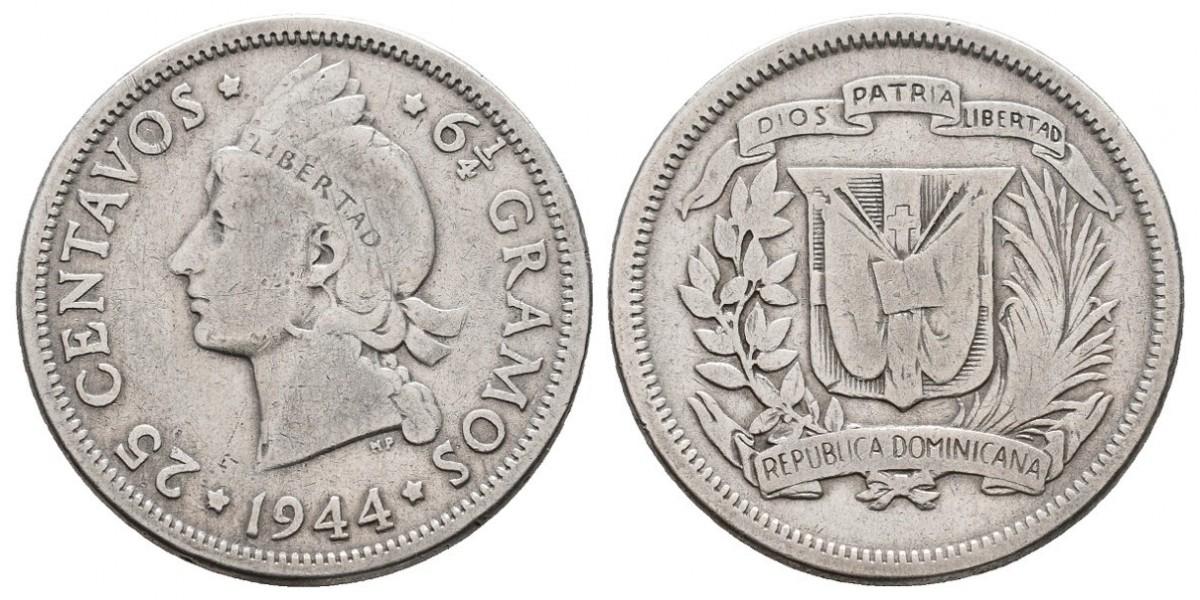 República Dominicana. 25 centavos. 1944